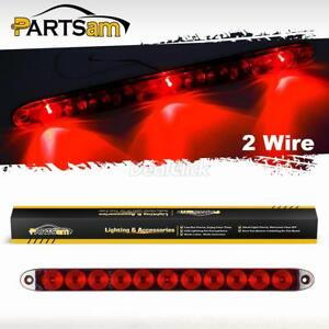 Submersible 15 Red 3 Led Center Id Light Bar Truck Trailer 2 Wire Surface Mount