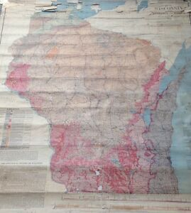 1911 Original Wisconsin Geology And Roads School Roll Up Map 55 X 61