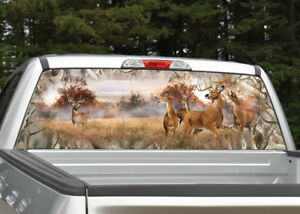 Whitetail Buck Deer Camo Obliteration Rear Window Decal Graphic For Truck Suv
