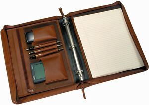 Royce Leather Deluxe Convertible Zippered Around Note Pad Holder Planner Black