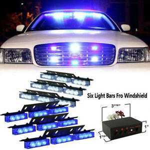 54 Led Blue White Car Emergency Strobe Flash Warning Light Deck Dash Grille