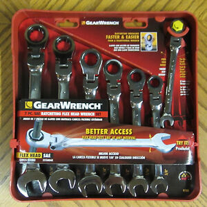 Gearwrench 7 Pc Sae Ratcheting Combination Flex Head Wrench Set 9700 1 2 7 16