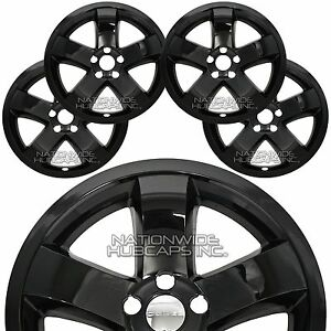 4 For Dodge Challenger 2009 2014 Black 18 Wheel Skins Hub Caps Full Rim Covers