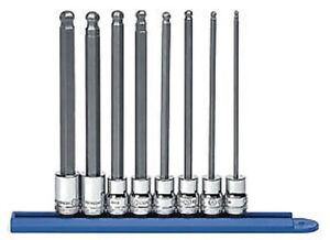 Gearwrench 80573 3 8 Drive Metric Long Ball Hex Bit Socket Set 8 Pc