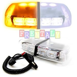Amber White 72 Cob Leds Light Bar Roof Top Emergency Beacon Warning Flash Strobe