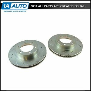 Nakamoto Performance Brake Rotor Drilled Slotted Front Coated Pair For Toyota