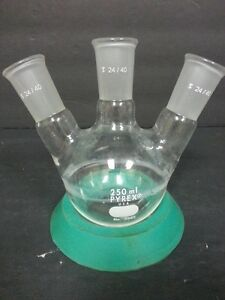 Pyrex 250ml Round Bottom Flask 3 Neck 24 40 Joint