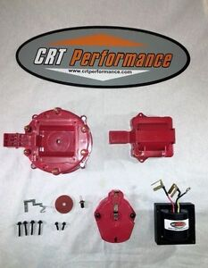 Red 6cyl Hei Distributor Cap Coil Cover Rotor Kit 65k Volt Coil Gm chevy