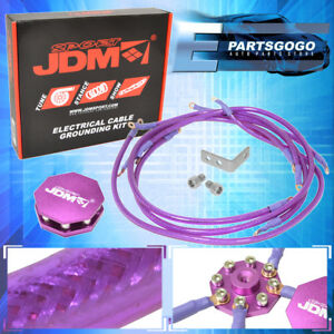 Jdm Sport Universal 8 Point Octagon Earth Ground Grounding Wire System Purple