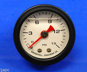 Marshall Gauge 0 15 Psi Fuel Oil Gas Pressure White Black Casing 1 5 Liquid