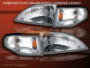 1994 1998 Ford Mustang Crystal Chrome Clear Headlights Corner Signal Lamp Set