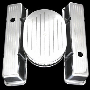 Aluminum Tall Valve Covers And Air Cleaner Fits Small Block Chevy 327 350 400