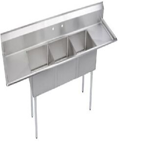 Stainless Steel 75 X 21 3 Three Compartment Sink W 2 Drainboards Nsf 16 Gauge