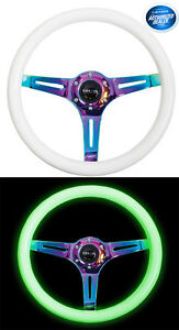 Nrg Steering Wheel 350mm Glow In The Dark Classic Luminor White Wood St 015mc gl