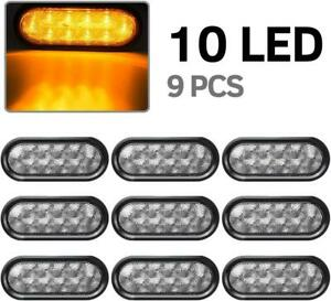 9x6 Oval Clear amber Stop Tail Turn Signal Lights Trailer Boat 10 Led W grommet
