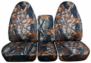 Grey Real Tree Camouflage 40 20 40 Seat Covers For A 1993 To 1998 Ford F Series