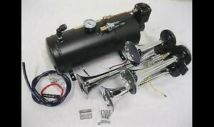 Quad 4 Air Train Horn Kit Semi Truck Car Boat Chrome Horns W 120 Psi Compressor