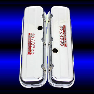 Tall Valve Covers For Big Block Chevy 427 Engines 427 Hp Emblems Chrome