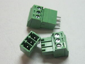 100 Pcs 3pin Pitch 3 81mm Screw Terminal Block Connector Green Pluggable Type