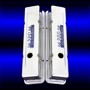 Tall Valve Covers Fits Sbc 350 Chevy Blue 350 High Performance Emblems Chrome