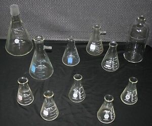 Glass Flasks Lot Of 11 Various Manufacturers Sizes