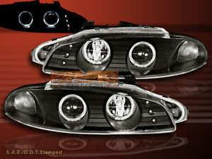 1997 1999 Mitsubishi Eclipse Projector Headlights Black Two Halo Led