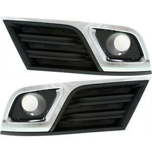 Fog Light Trim Set For 2013 17 Chevy Traverse Left Right Black And Chrome 2pc