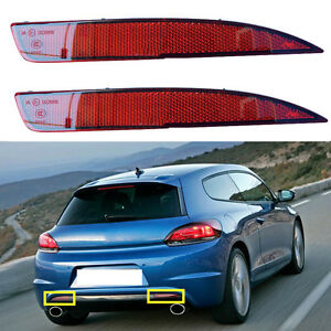 2x Red Lens Reflector Rear Fog Lamp Cover No Bulb For Scirocco