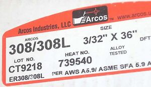 Arcos 308l 3 32 X 36 Stainless Steel Tig Welding Rods 7lb 6 6oz Filler Rod Usa