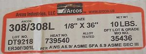 Arcos 308l 1 8 X 36 Stainless Steel Tig Welding Rods 10 Lb Filler Rod Usa