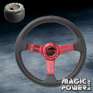 330mm Red 2 Deep Dish Steering Wheel Hub Adapter For Acura Rsx 2002 2006