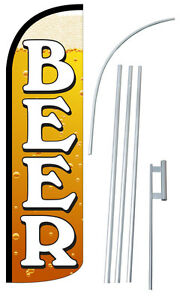 Beer Flag Kit 3 Wide Windless Swooper Feather Advertising Sign