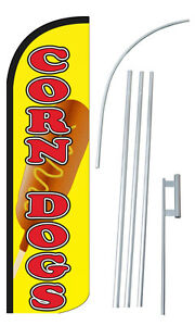 Corn Dogs Flag Kit 3 Wide Windless Swooper Feather Advertising Sign