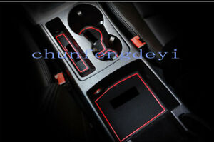 9pcs Top Interior Gate Slot Mat Cup Holder Pad Rubber For Audi A4 B8 2013 2015