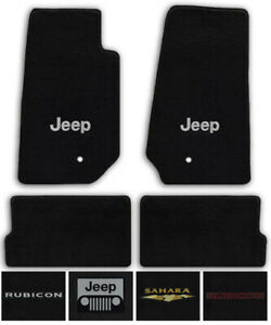 Black All Weather Carpet Floor Mats For Jeep Wrangler With Optional Jeep Logo