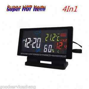 4in1 Digital Car Voltage Lcd Alarm Clock Thermometer Hygrometer Weather Forecast
