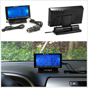 In car Digital Compass 4 6 Lcd Display Blue Led With Clock Thermometer Calendar