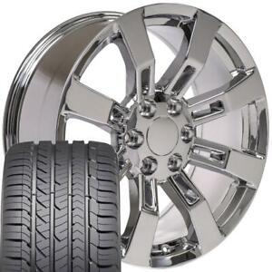20x8 5 Wheels Fit Chevy Gm Escalade Style Chrome Rims W goodyear Tire Set cp