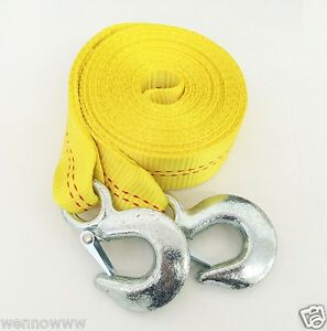 2 X 20ft Tow Strap Rope W 2 Hooks 10 000 Lb Heavy Duty Nylon Webbing Towing