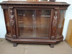 Horner Walnut China Cabinet Sliding Glass Doors Claw Feet
