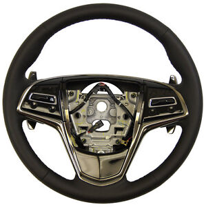 2013 Cadillac Ats Steering Wheel Black Leather W paddle Shift 23114404 22965024