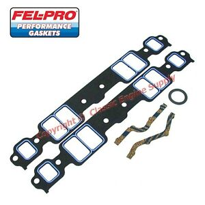 New Set Of Fel Pro 1205 Intake Manifold Gaskets Chevy Sb 400 350 327 305 283