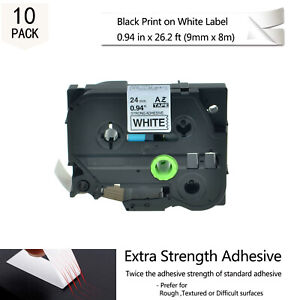 10pk 24mm Tzs251 Tze S251 Black On White Label Tape For Brother P touch Pt 2600