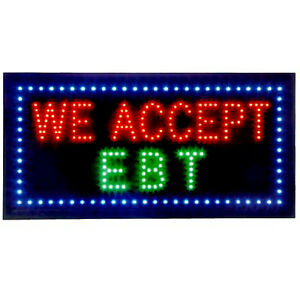 Business Led Window Sign 20 X 9 Inch Restaurant Market We Accept Ebt Chain