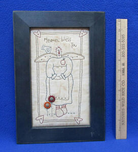 Primitive Hand Stitched Angel Picture W Heaven Bless You Blue Wood Frame