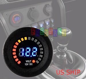 Led Digital Waterproof Voltmeter Gauge Meter 12v 15v Car Auto Motorcycle Boat