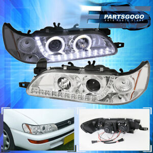 For 93 97 Corolla 1 Piece Led Dual Halo Projector Headlight Lamp Chrome Housing