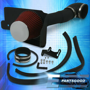 For 05 09 Ford Mustang V8 Cold Air Intake Heat Shield Black 3 5 Air Filter Red