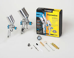 Devilbiss Spray Paint Gun Kit 802342 Hvlp 2 Guns W regulator New