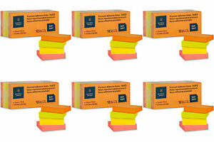 Premium Adhesive Notes 1 5x2 Pack Of 12 Pads Of 100 Neon 6 Packs